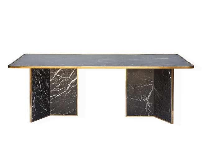Inspired by the smoked cracked glass table the marble for Cracked glass dining table