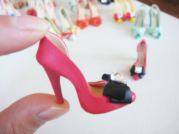 Miniature High Heel Shoes - Handmade from Polymer Clay via Etsy