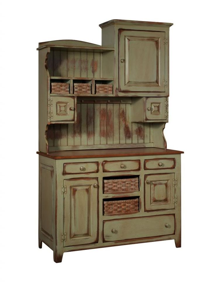 Amish Primitive Kitchen Hutch Farm House Pantry Cupboard Wood Country Cute