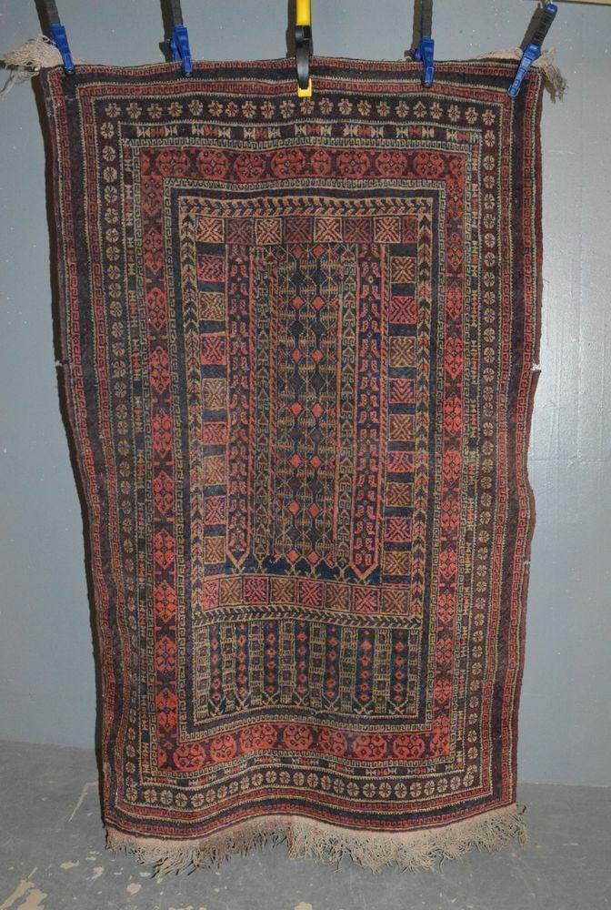 Orient Teppich mit geometrischer Musterung 165x95cm Wolle handgeknüpft 3kg
