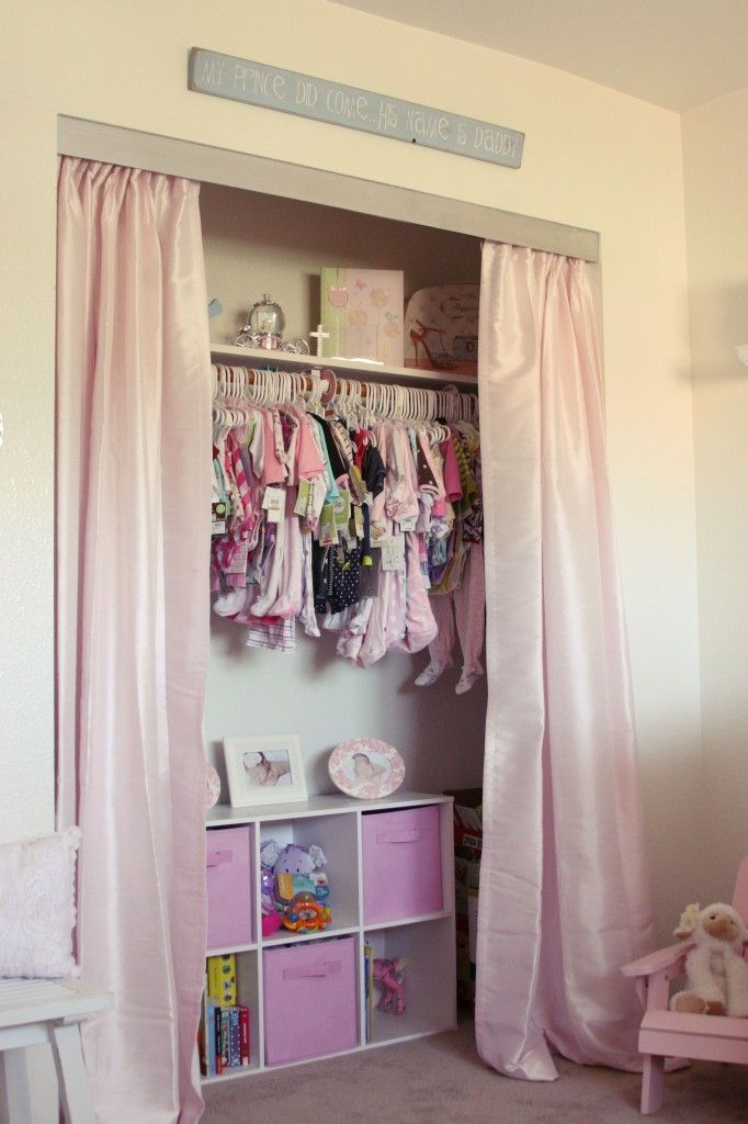 Small closet? Remove the sliding doors and add curtains! #nursery #closets: Small Closet, Madisyn Shabby, Closet Doors, Closets, Shabby Chic Nurseries, Simply Ciani, Closet Curtains, Closet Ideas, Chic Nursery