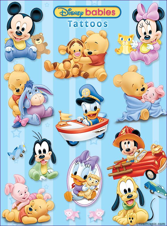 Disney babies - adorable-  The only Wierd part about this is that they are tattoos