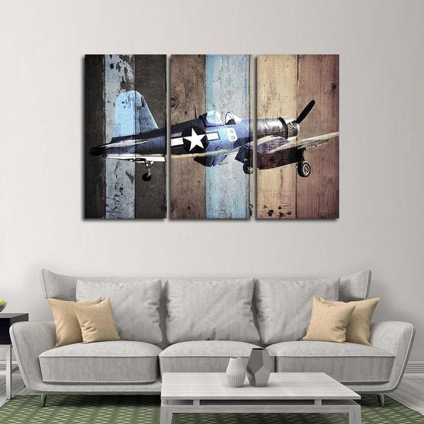 Vintage Vought F4u Corsair Multi Panel Canvas Wall Art Airplane Wall Art Multi Panel Canvas Canvas Wall Art