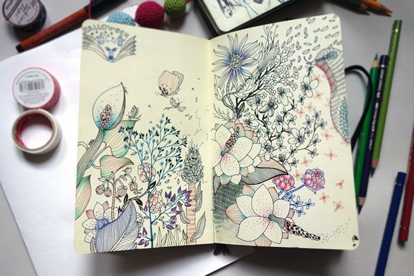 Sketchbook pages by Anna Aniskina, via Behance. #Floral #botanical #art