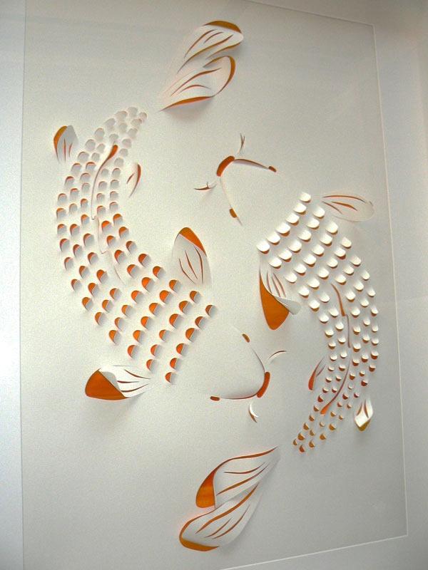 Two Koi Carp. Beautiful paper art by Lisa Rodden.