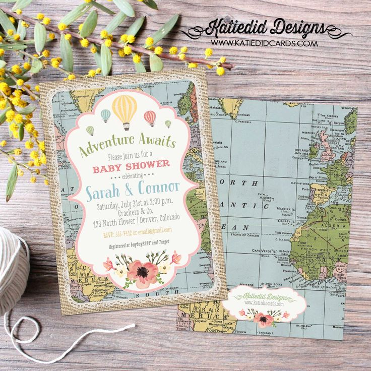 Adventure awaits baby shower invitation gender neutral reveal map hot air balloon flowers burlap sip and see world travel 1455 diaper world by katiedidesigns on Etsy https://www.etsy.com/listing/286372087/adventure-awaits-baby-shower-invitation