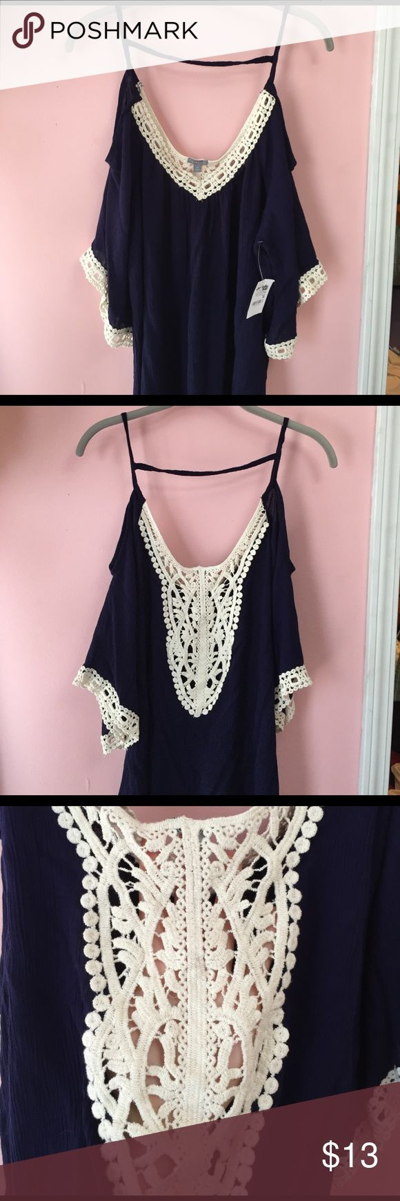 Navy Blue top Perfect navy blue top falls off shoulders. Would be a great beach top as a cover up or just an easy throw on shirt. Charlotte Russe Tops Blouses