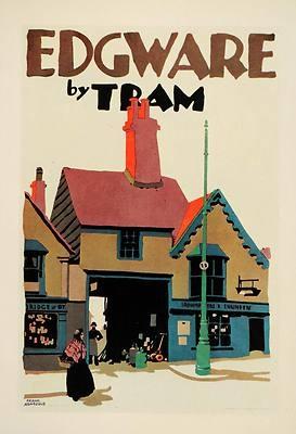 1929 Frank Newbould Edgware London Tram Poster UK