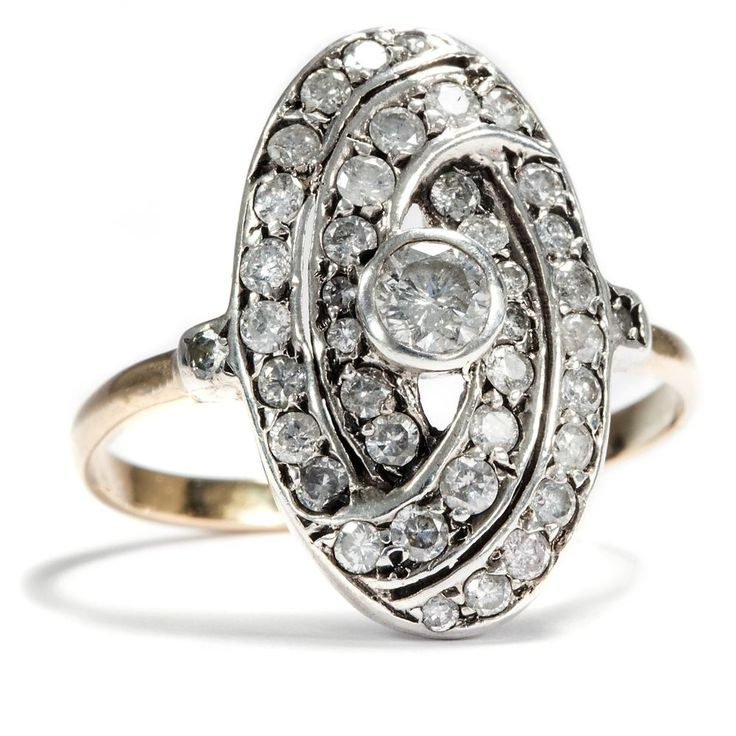 Art Déco um 1925: RING aus 585 Gold, Silber & Diamanten / Diamant Verlobungsring