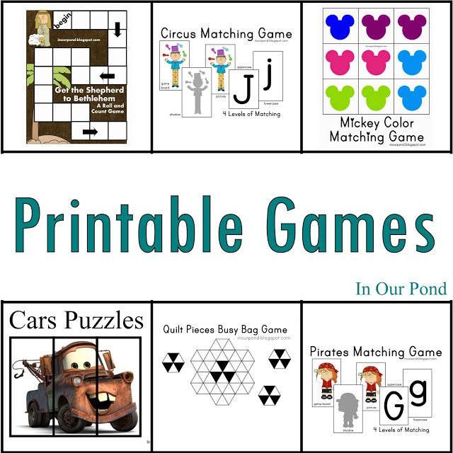 In Our Pond: Games Printables