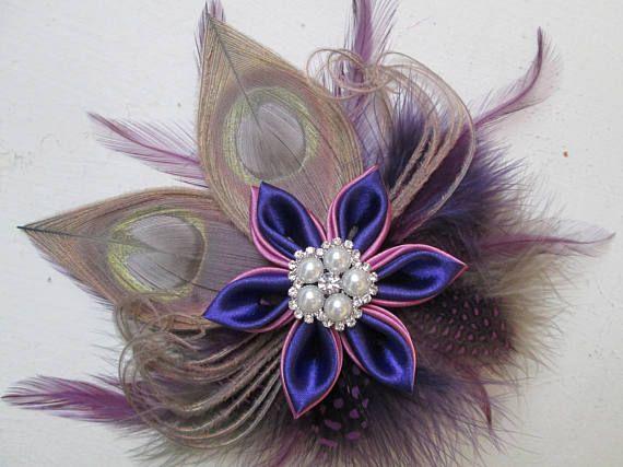 Purple & Orchid Wedding Peacock Fascinator Silver Peacock