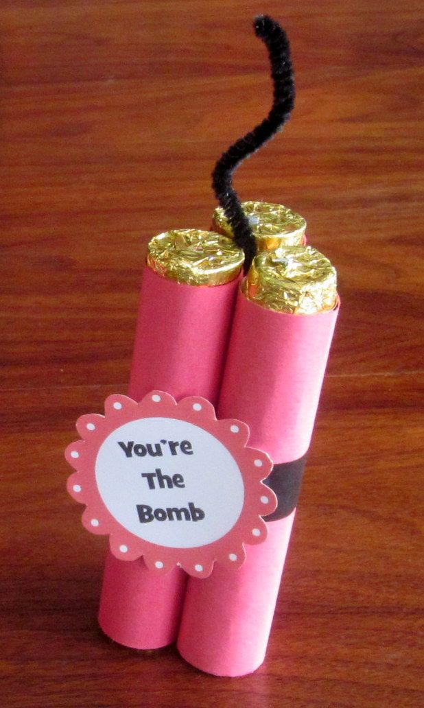 valentine candy craft homemade.. This would be great for my husband who works with bombs!