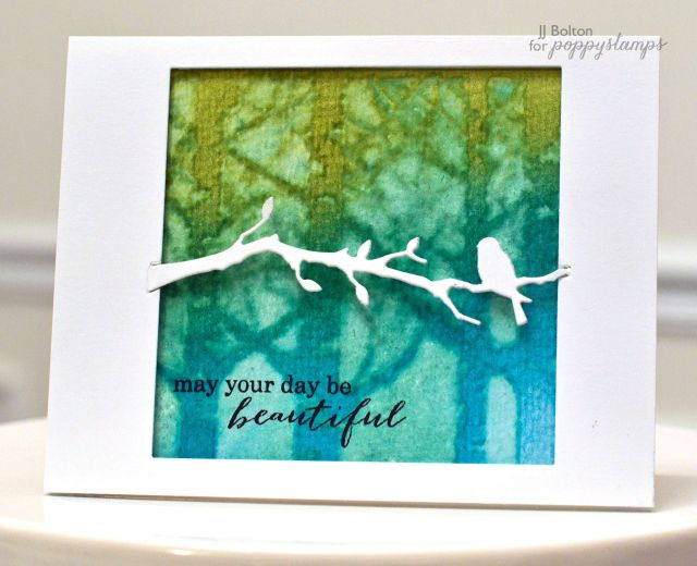Quiet Birds: Poppystamps, bg: distress ink on wc, lay stencil over, wipe w/ baby wipe to remove ink,  by JJ Bolton