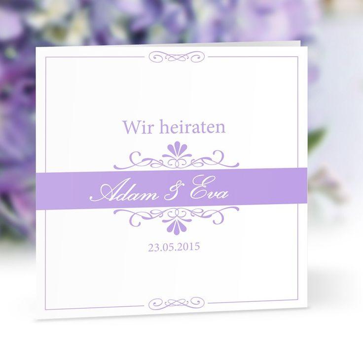 Hochzeitseinladung Bella flieder: https://www.meine-hochzeitsdeko.de ...