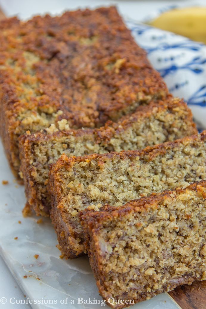 Oat Flour Banana Bread www.confessionsofabakingqueen.com