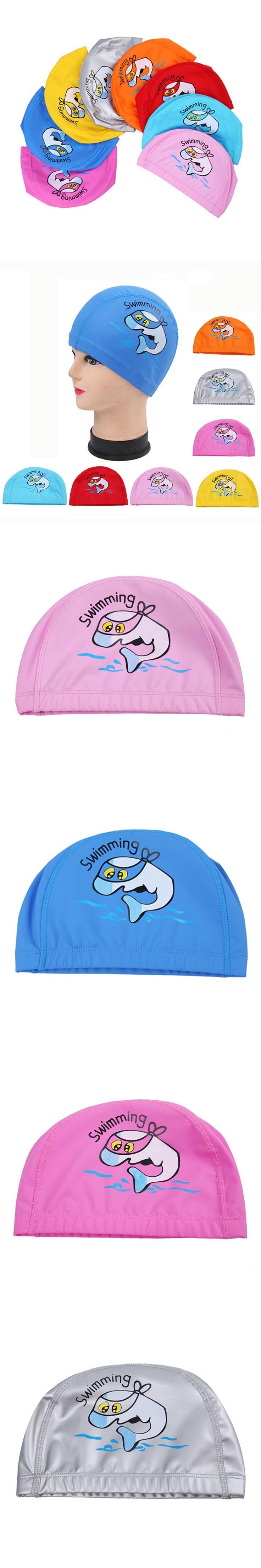 Cartoon Dolphin Waterproof PU Fabric Long Hair Ear Protection Children Kids Swim Pool Water Sport Swimming Cap Hat for Boys Girl