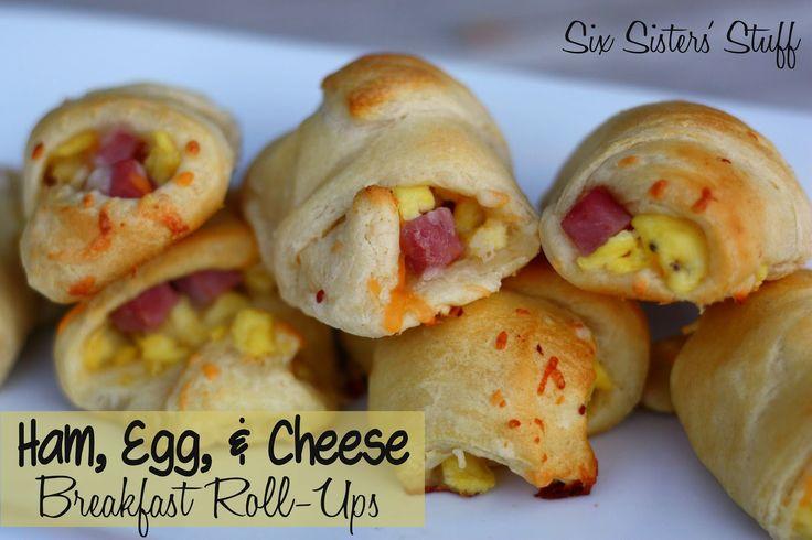 Ham, Egg, and Cheese Breakfast Roll-Ups - Six Sisters Stuff