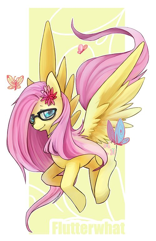 #1404070 - artist:mousu, butterfly, fluttershy, glasses, looking at you, pegasus, pony, safe, solo, spread wings, wings - Derpibooru - My Little Pony: Friendship is Magic Imageboard