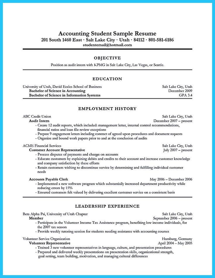 accounting major resumes
