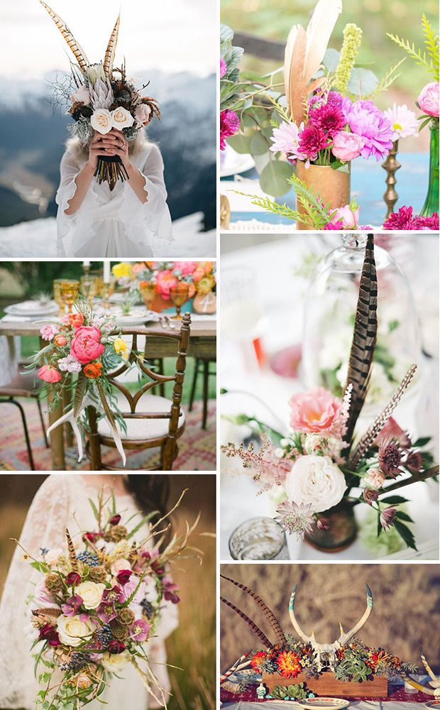 love the antlers and feathers!  Boho Wedding Feather Flowers & centrepieces | www.onefabday.com