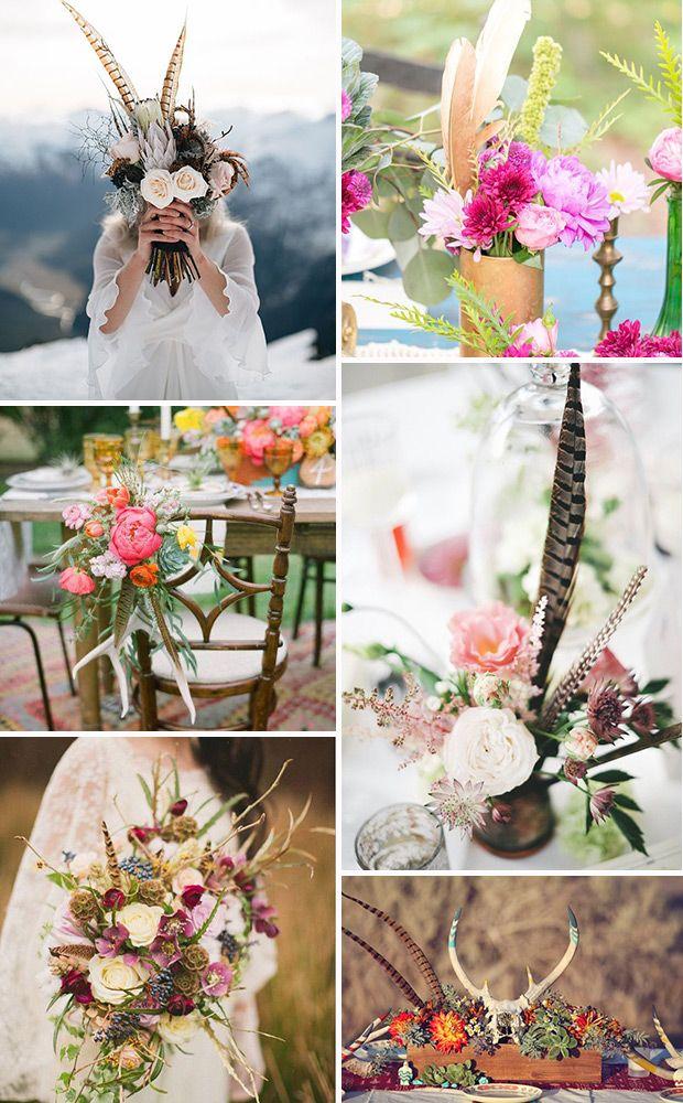 Boho Wedding Feather Flowers & centrepieces   www.onefabday.com