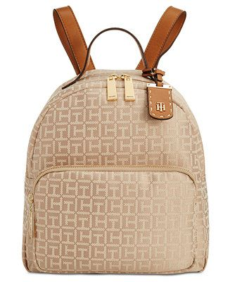 Tommy Hilfiger Julia Monogram Jacquard Dome Backpack, Created for Macy's - Handbags & Accessories - Macy's