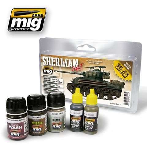 "Set with essential and necessary products to paint late WWII Sherman tanks like the one seen the movie ""FURY""."