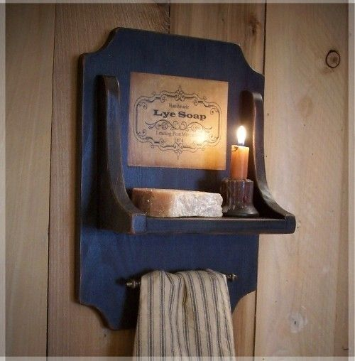 Colonial Soap and Towel Holder for the Bath / Old Label / Old Hardware / Lamp Black / Color Choice