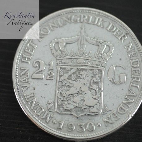 Antique 1930 silver coin 2 1/2 Gulden Netherlands 2.5 two and haft 2.5 NLG great rare gift