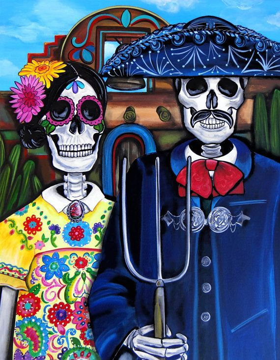 MexicanAmerican Gothic   Day of the Dead Art by UrbanArtByMelody, $48.00