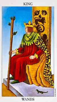 The appearance of the King of Wands also suggests that an opportunity is presenting itself to you, and you now have the power to accept the opportunity and take on the challenge. You are the determining factor in this situation, and circumstances will navigate in the direction you steer them. Indecision or doubt will not be appropriate responses when clarity and confidence are required. However, as you progress in this new role, it will begin to feel more comfortable.