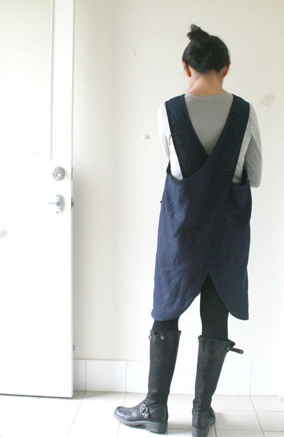 LINEN PINAFORE DRESS mabel / navy blue / criss by PAMELATANG