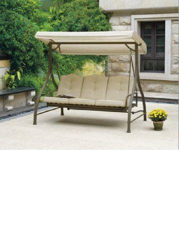 New Outdoor 3 Triple Seater Hammock Swing Glider Canopy Patio Deck