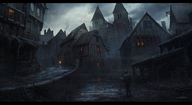 fantasy town concept dark