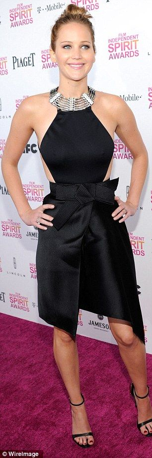 Jennifer Lawrence raised the 'wow' factor to new heights when she took to the red-carpet at the 2013 Film Independent Spirit Awards on Saturday in a stunning halterneck gown ~ February 23, 2013