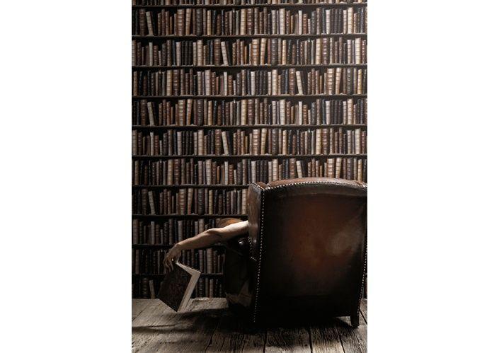 """Обои """"Ретро-библиотека (цветные книги)"""" в интерьере. Фабрика Koziel, коллекция Обои Koziel"""