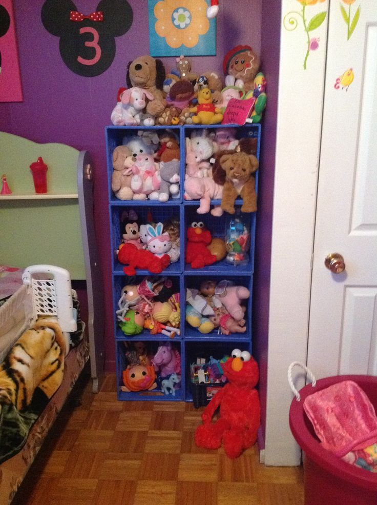 Milk crate toy storage I just finished in our daughters room. Perks of working with a milk company haha. Eliminated an over flowing toy box, an over flowing hamper filled with teddy bears & got a tub of blocks off the floor!!!! Going to do one for our office/spare room too & a giant one for our shed