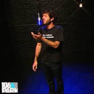 """Out of thin air, Philadelphia's Lil Dicky swings through the """"106 & Park"""" Backroom booth where he simply shakes apart the walls with a fast, highly-confident freestyle that is both…"""