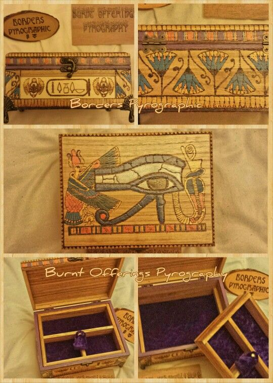 #pyrography #egypt #EyeOfHorus #JewelleryBox Burned by Tracey Glover