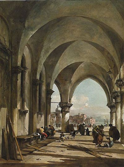 Francesco Guardi : L'arcade du palais des Dosges à Venise, en direction de la basilique San Giogio Maggiore. Huile sur toile, 49,5 cm x 36,2. Collection Alicia Koplowitz - Grupo Omega Capital