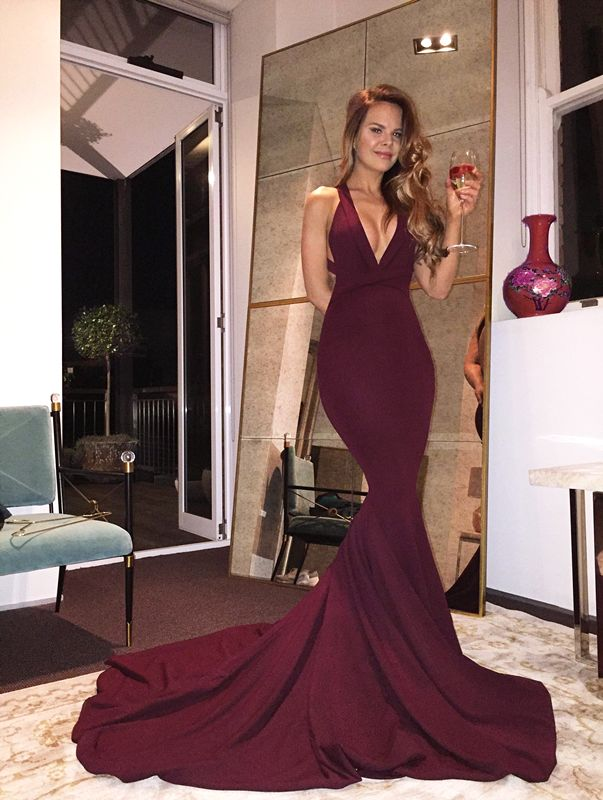 Sexy Mermaid Maroon Backless Evening Prom Dresses, Long Deep V Neckline Party Prom Dress, Custom Long Prom Dresses, Cheap Formal Prom Dresses, 17118