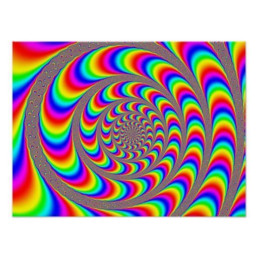 Crazy Optical Illusion Rainbow Spiral Holographic Poster