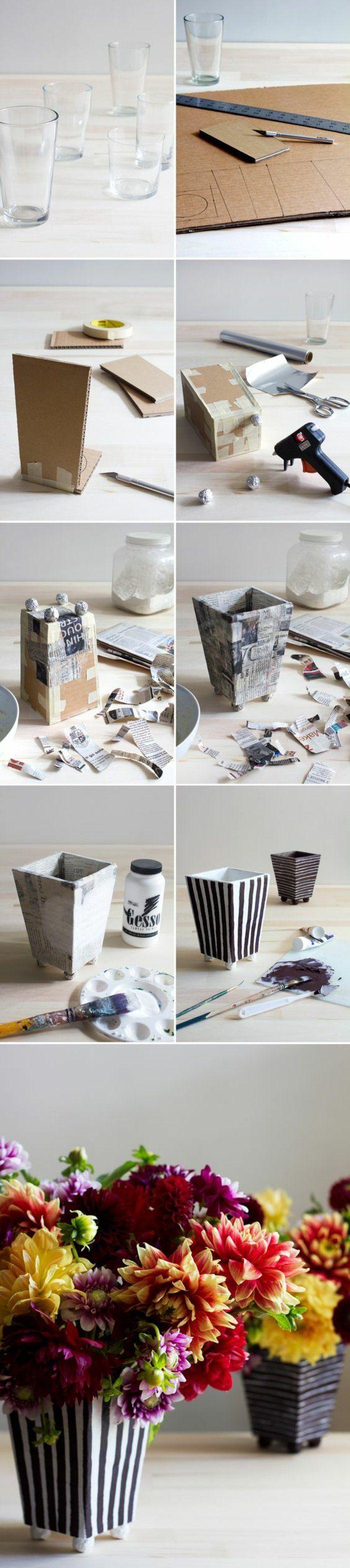 de simples verres d eau transformés en vases, papier maché tutoriel, papier journal peint en blanc à rayures marron