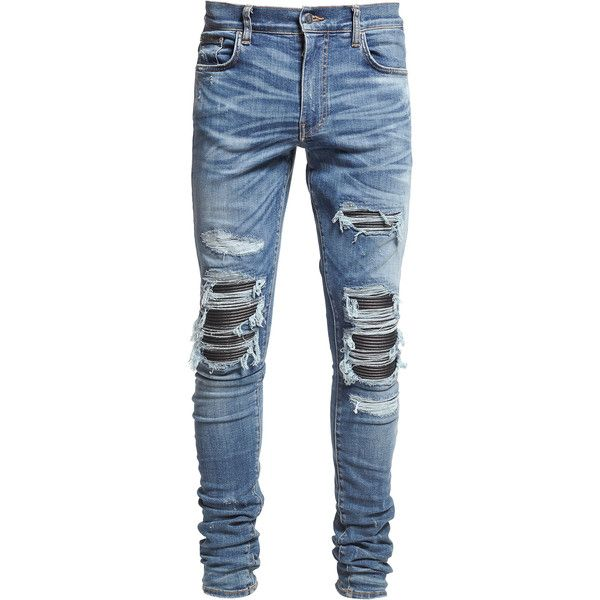 Amiri mx1 Classic Destroyed Jeans ($1,040) ❤ liked on Polyvore featuring men's fashion, men's clothing, men's jeans, bottoms, dad, jeans, pants, blue, mens distressed jeans and mens leather jeans