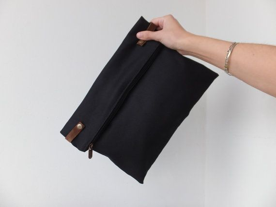 Men fold over clutch / Black cotton leather clutch / Male clutch / Men's clutch pouch / Cool gift for mens / Masculine clutch