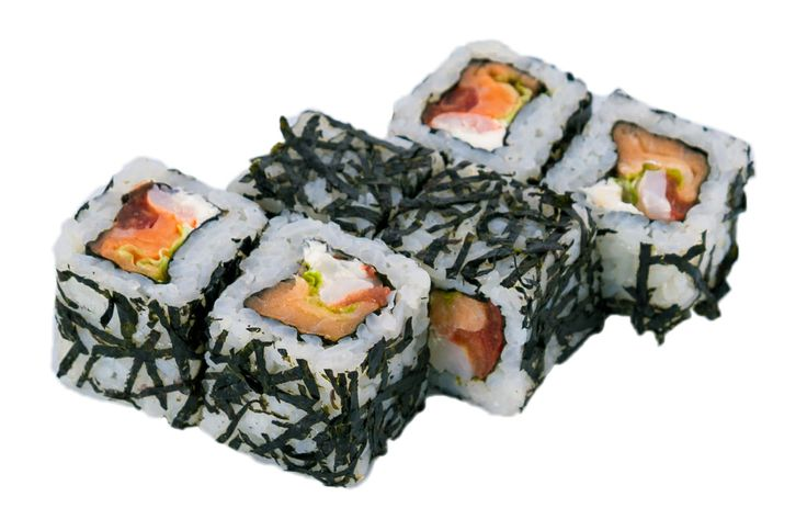 Эби Нори Маки  Норвежский лосось, креветки, листья салата «Лолло Росса», помидоры «Черри» Вес: 150 г 300.00 руб.