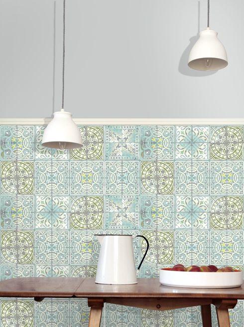 Patchwork Jade Paper Tiles Wallpaper - LouiseBody