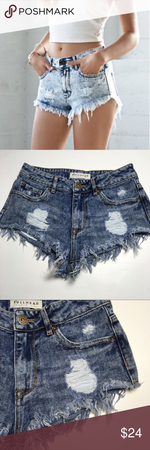Sexy Daisy Duke Frayed Shorts 💋 Similar style to cover shot. Super short high waisted distressed frayed shorts. Great for summer. Like new. Bullhead Shorts