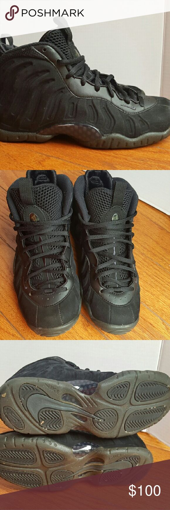 Nike Triple Black Foamposite Stealth Sneakers Foamposite in Excellent Used Condition  Youth size 5 Nike Shoes Sneakers
