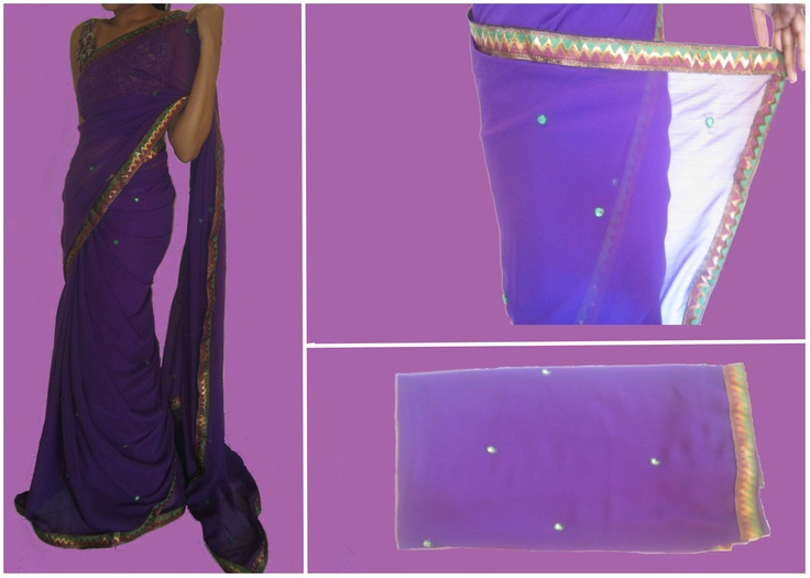 Purple Chiffon Saree. Code: MC004  Purple chiffon saree with gold lightening border. The mirror work all over the saree will make you sparkle at all occasions. The blouse is same as the gold lightening on the border.  Drop a comment below to place an order.